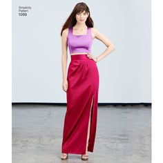 Inspired by Project Runway, this two-piece dress pattern is great for special occasions. Pattern includes full maxi or knee-length skirt with pockets, slim skirt with slit, loose or fitted crop top, and top with contrast band. Simplicity sewing pattern.
