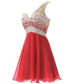 2015 trendy Unique short one shoulder plus size prom dress wit rhinestone  top and chiffon skirt 95b266f723a