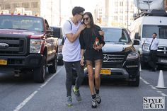 Justin Griffin telling a secret at Gizele Oliveira at New York fashion week _AAA1480