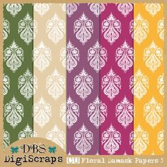 DBS DigiScraps: Free CU Floral Damask Papers 3