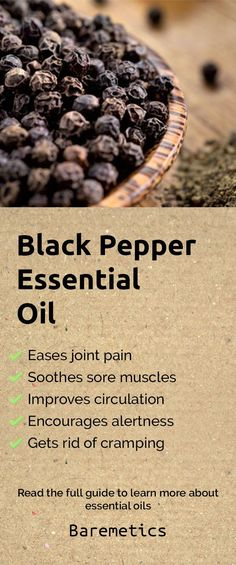 Black pepper essential oil eases joint and muscle pain, improves circulation, eases cramps, stimulates your body and encourages alertness. If you love working out, add a few drops of this into your lotion for after you shower to help with recovery and get rid of any soreness. Click on the pin above to learn more about essential oils!