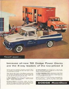 "1958 DODGE TRUCKS vintage magazine advertisement ""all-new '58 Dodge Power Giants"" ~ (model year 1958) ~ Smart move ... because all-new '58 Dodge Power Giants are the 4-way leaders of the low-priced 3 - Buying a new truck represents a long-term ..."