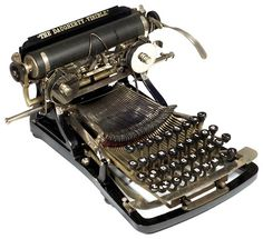 This elegant elongated typewriter pioneered the essential elements of the modern typewriter, with four rows of keys, front-strike visible typing, and a single shift key. Modern Typewriter, Typewriter For Sale, Antique Typewriter, Vintage Typewriters, Vintage Cameras, Underwood Typewriter, Writing Machine, Vintage Office, Painting Art