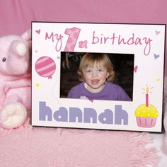 Personalized Baby Girl's 1st Birthday Printed Frame