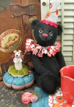 SHADOW teddy bear and SHY MOUSE pinkeep, both by me -- Shelli Quinn of POTBELLY BEARS.