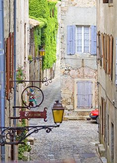 The historic Maison Maynard alley, in Lagrasse, Corbieres, Aude, France