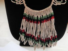 www.etsy.com/shop/FindCharlotte Excited to share the latest addition to my #etsy shop: Vintage African Necklace Beaded Glass Bib Collar Necklace Fringe Style Boho Beadwork Black Red Green White Statement Tribal Necklace http://etsy.me/2ClbbLG #jewelry #necklace #white