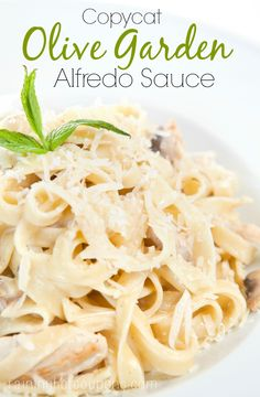 """Copycat Olive Garden Alfredo Sauce Recipe....try with BOTH cheeses....and not the """"canned"""" parmesan....we want shredded.....texture was off."""