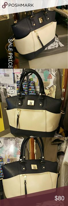 """Tignanello Satchel NEW without tags Tig satchel , navy blue and cream color with gold hardware measurements are : 10""""height by 16""""length by 7"""" depth (front to back depth) and shoulder straps are 14"""" time 2 straps Tignanello Bags"""