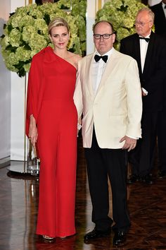 Princess Charlene and Prince Albert II of Monaco arrive at the Monaco Red Cross Gala on July 25, 2015 in Monte Carlo, Monaco