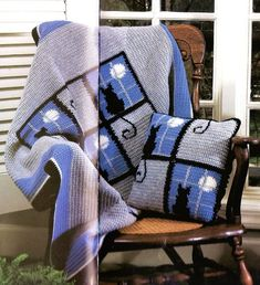 3 Afghan Designs See Photos ... Holiday ... Christmas Snowflakes ... Snowflakes .. Sport Weight Cotton  Mercerized Cotton . .. Cat In The Window .. Worsted Weight Acrylic Yarn ... Cozy Corner .. Worsted Weight Brushed Acrylic Yarn ... Single Pat...