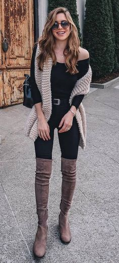 how to wear brown over the knee boots : knit scarf + bag + one shoulder top + skinnies