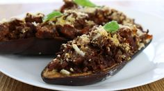 Grandma's Minced Meat Stuffed Eggplants as Reproduced by Me [5472x3072][OC]