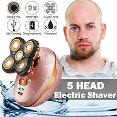 Men 5 Head Floating Blade Shaving Body Hair Bald Electric Shaver... Shaving Body Hair, Bald Hair, Shaved Hair, Hair Removal, Serum, Round Sunglasses, Electric, Rotary, Blade