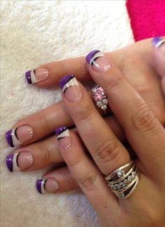 Nail art:nail art french nail art french purple and white arts nails designs manicure Nail Tip Designs, Manicure Nail Designs, Purple Nail Designs, Fingernail Designs, French Nail Designs, Gel Nail Art, Art Designs, French Nail Art, French Tip Nails