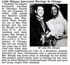 Raymond Stough and Beatrice Williams Wed in Chicago with 1000 guest  Jet Mag July 17, 1952