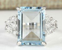 Fashion  Women 925 Silver 7.14CT Aquamarine Ring Engagement Jewelry Size 6-10 #Unbranded #fashion
