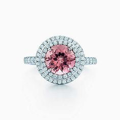 Tiffany Soleste® ring in platinum with a .70-carat pink tourmaline and diamonds.