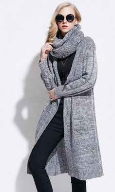 Women's Mid Length Cardigan with Scarf