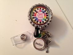 Nail Tech beaded badge reel, id tag--- nail stylist, nail technician, nail salon worker. retractable badge, velcro badge, id badge by FlipflopBottlecaps on Etsy https://www.etsy.com/listing/212073038/nail-tech-beaded-badge-reel-id-tag-nail