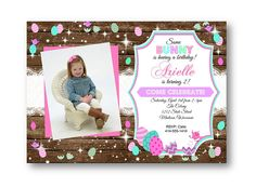 easter birthday invitation with photo - rustic wood and lace - easter eggs chicks - pastel girl 1st birthday easter holiday invites