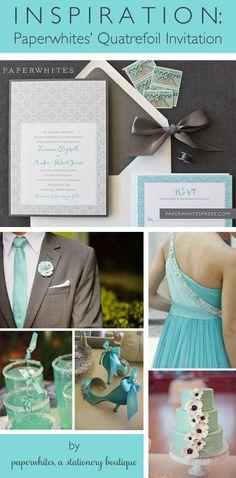 Quatrefoil wedding invitation in tiffany blue and gray - nice scheme, but it looks very spring wedding Summer Wedding, Our Wedding, Dream Wedding, Wedding Stuff, Wedding Vows, Wedding Themes, Wedding Colors, Themed Weddings, Wedding Decor