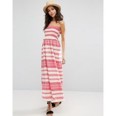 ASOS Shirred Maxi Dress With Pom Pom Detail (1,920 PHP) ❤ liked on Polyvore featuring dresses, multi, party dresses, cotton cami, stripe dresses, maxi prom dresses and cotton dress