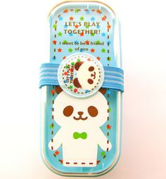 2 Tier Bento Box With Band Cute Panda Blue