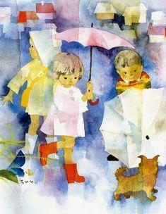 by Chihiro Iwasaki, 1967 「子犬と雨の日の子供たち」-> kinderen op een regenachtige dag children with umbrella Clouds And Rain, Rain Art, Umbrella Art, Japanese Calligraphy, Drawing Skills, Japanese Artists, Children's Book Illustration, Belle Photo, Watercolor Paintings