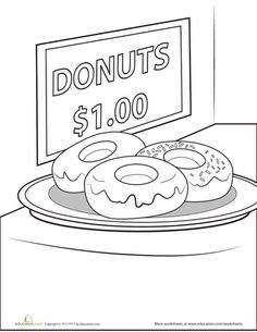 worksheets donut coloring page