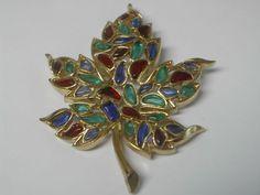 "Vintage Crown Trifari Maple Leaf Pin ""Modern Mosaics""   eBay"