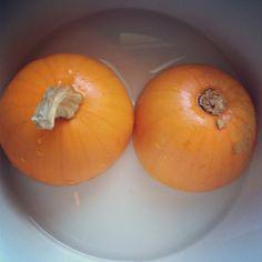 Making pumpkin puree.