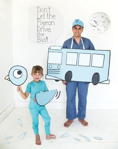 Don't let the pigeon drive the bus costumes for dad and child.