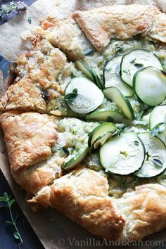 Zucchini and Caramelized Onion Galette with Gruyere Recipe | Vanilla And Bean #Recipe #vegetarian