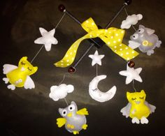 Gray and Yellow Owl Felt Baby Mobile by CocoonMoon on Etsy, $50.00