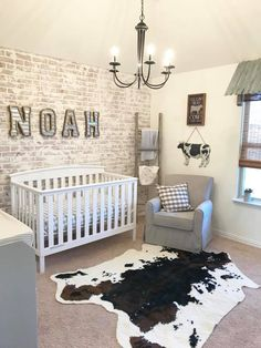 Baby Nursery Ideas This sweet farmhouse-inspired nursery is just waiting on its baby Related posts:Project Nursery - WallpaperOuter Space Nursery Reveal for Baby Boy Nursery or Gender Neutral Nursery Baby Boy Room Decor, Baby Bedroom, Baby Boy Rooms, Baby Boy Nurseries, Kids Bedroom, Baby Room Ideas For Boys, Baby Boy Nursey, Rustic Baby Nurseries, Room Baby