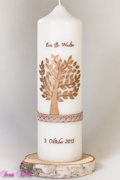 Hochzeitskerzen & Beleuchtung - Hochzeitskerze Baum mit Spitze - ein Designerstück von Sannis-Wunschkerzen bei DaWanda