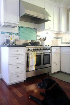 Ideas On Adding Aqua Into White Kitchen