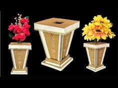 DIY floor vase | flower vase making with cardboard - YouTube