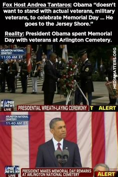 Fox host Andrea Tantaros attacks Obama for spending Memorial Day at the Jersey Shore, even though he really spend the day with veterans at Arlington Cemetery.