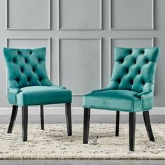 Rosdorf Park Burnett Tufted Velvet Upholstered Parsons Chair & Reviews   Wayfair Teal Furniture, Parsons Chairs, Sit Back And Relax, Upholstered Dining Chairs, Side Chairs, Accent Chairs, Room Decor, Upholstery, Living Room