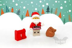 BAT™ USB flash drive - Memory Stick - Lego® original Minifigure - Xmas Santa Claus - Lego usb with legs cap - Christmas gift - ONLY 2 pieces available by Holiday Gifts, Christmas Gifts, Christmas Decorations, Xmas, Christmas Ornaments, Christmas Trends, Christmas 2015, Custom Packaging Boxes, Small Gifts