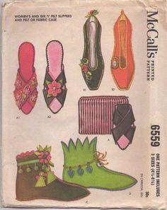 MOMSPatterns Vintage Sewing Patterns - McCall's 6559 Vintage 60's Sewing Pattern FANTASTIC Retro Slippers, Boudoir Footwear, Elf Boots, Daniel Green Look Felt Slipper, Ballerina Flats & Case