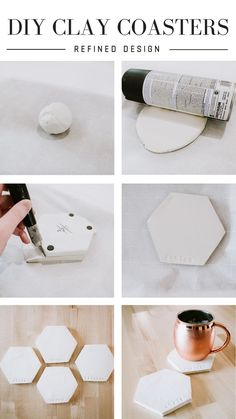 DIY Clay Coasters by Refined Design - personalized clay coasters you can make from home! Perfect craft project and gift idea for weddings, Christmas, and birthdays. Crafts to sell DIY CLAY COASTERS Polymer Clay Crafts, Diy Clay, Polymer Clay Jewelry, Diy With Clay, Crafts With Clay, Air Dry Clay Crafts, Homemade Clay, Diy Crafts Home, Diy Crafts To Sell