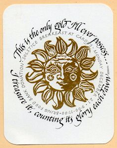 Carol DuBosch (The Passionate Pen 2015 Calligraphy Conference) SolsticeSun