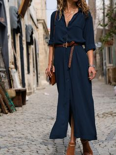 KoHuiJoo 2019 Summer Loose Long Shirt Dress Women Solid Pockets Turn Down Collar Long Sleeve Casual Maxi Dress Ankle Length Summer Dresses Sale, Summer Dresses For Women, Fall Dresses, Casual Dresses, Mini Dresses, Dress Summer, Evening Dresses, Flower Dresses, Beach Dresses