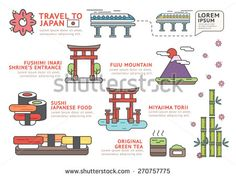 Set of Flat line icon & infographic design concept Travel to Japan  / Infographic Element / icon / Symbol , Vector Design