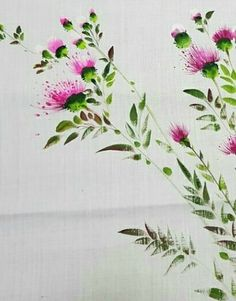 Fabric Painting, Fabric Art, Watercolour Painting, Watercolor Flowers, Art Floral, Flower Prints, Flower Art, Embroidery Flowers Pattern, Copics