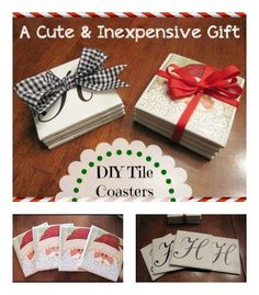 Cute, Inexpensive, and Easy Gift Idea My MOST pinned project!   389,000 plus pins and counting!  DIY Tile Coasters