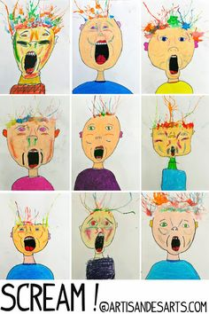 Screamy portraits with straw-blown hair. I love that her students interpreted this as exploding brains!